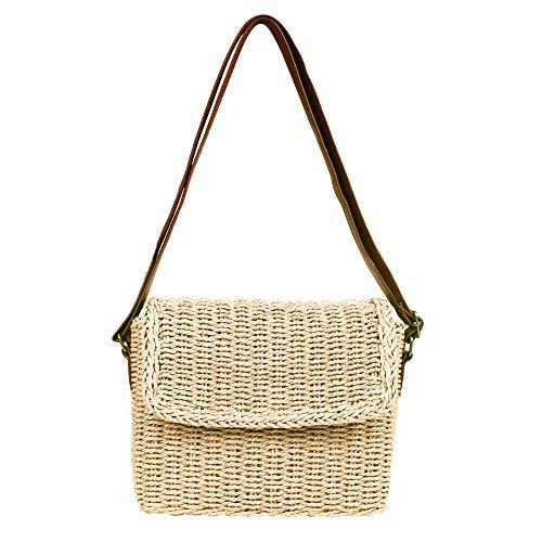 Olyphy Retro Crossbody Bag for Women, Woven Straw bag Envelope Shoulder Bag Handbag Summer Beach Purse ()