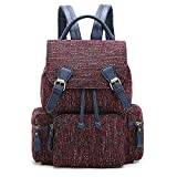 ECOSUSI Women Backpack Vintage Rucksack Casual Daypack with Drawstrings, Red