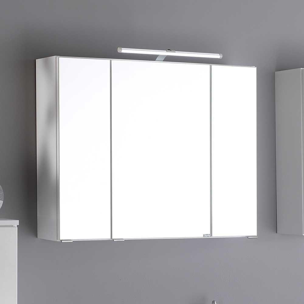 Pharao24 Bad Spiegelschrank in Weiß 3D Effekt Breite 70 cm