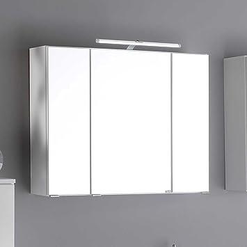 Spiegelschrank bad weiß  Bad Spiegelschrank in Weiß 3D Effekt Breite 90 cm Pharao24: Amazon ...