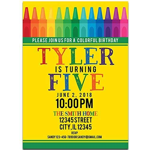 Crayon Box Birthday Party Invitations