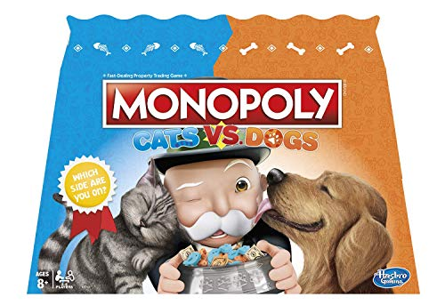 Monopoly Cats Vs. Dogs Board Game for Kids Ages 8 and Up (Dog Monopoly Board Game)