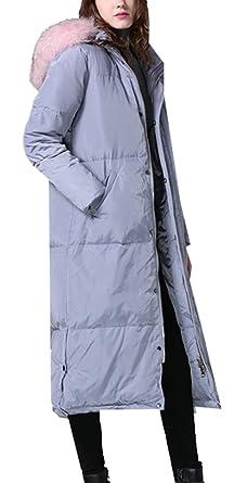 Kaufen Sie Authentic gemütlich frisch 60% günstig Foluton Damen Wintermantel Maxi Lang Daunenjacke Winterparka Mit Kunstpelz  Kapuze Elegant Warme Steppmantel Steppjacke Overcoat Outwear Trenchcoat