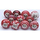 10 Red And White Ceramic Knobs Handpainted Ceramic Door Knobs Kitchen  Cabinet Drawer Puller Pulls