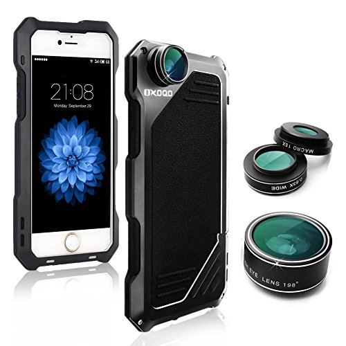 iPhone 6/6s Camera Lens Kit, OXOQO 3 in 1 198° Fisheye Lens + 15X Macro Lens + Wide Angle Lens with Dustproof Shockproof Aluminum Case, Separate Screen Protector Included(Black)