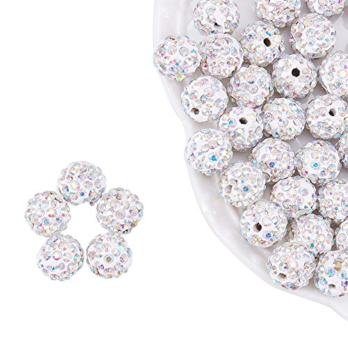 NBEADS 100 Pcs 10mm White Polymer Clay Clear Gemstones Cubic Zirconia CZ Stones Pave Micro Setting Disco Ball Spacer Beads, Round Bracelet Connector Charms Beads for Jewelry Making ()
