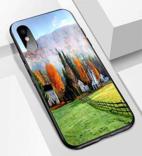 iPhone X/XS Ultra-Thin Glass Back Phone case,Autumn Mist in The Village of Tyringham in The Berkshires Soft and Easy to Protect The Protective case