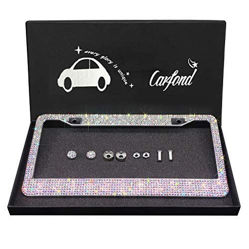 Carfond 7 Row Handcrafted 1000+ pcs Finest 14 Facets SS20 Premium Glass Crystal Diamond Stainless Steel License Plate Frame Bonus Matching Screws Caps (AB Color)