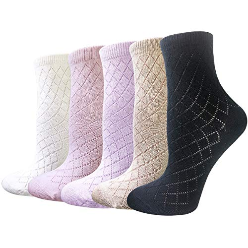 5 Pairs Ultra Thin Cotton Socks Women Summer Anklets Crew Socks Breathable Mesh Perforated Surface Dry Fit (diamond mesh)