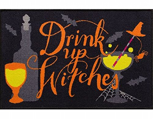 Halloween Rugs (Midnight Market Accent Throw Rug Drink Up Witches Halloween No Skid Mat 20x30)