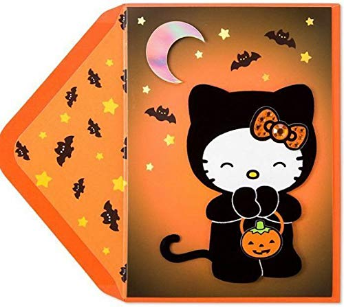 Funny Greeting Card Halloween Hello Kitty Mask Gems Cat Costume Sweet Treats Amazing Halloween Card For Friends