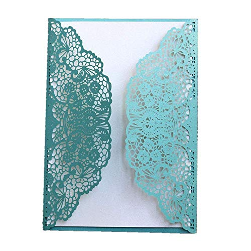 50pcs Laser Cut Invitation Cards with Envelopes Wedding Invitation Cards Kit with Printable Inner Sheet Envelopes for Bridal Baby Shower Engagement Party Burthday (Turquoise) -