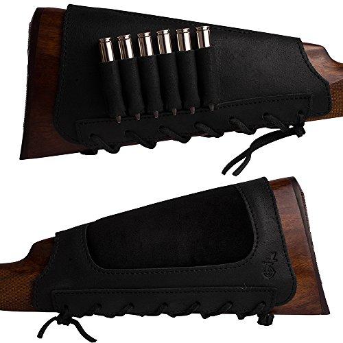 BronzeDog Leather Cartidge Buttstock Shotgun Shell Holder, Hunting Buttstock Ammo Holder Pouch...