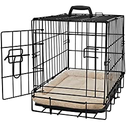 """Pet Dog Cat Crate Kennel Cage and Bed Pad Cushion Warm Soft Cozy House Kit Playpen - 20"""" Inches"""