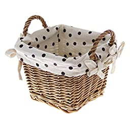 JustNile Desktop Storage Willow Basket - Fabric Lining with Handle -Brown Dots