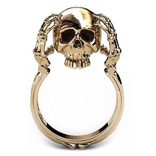 [EVBEA Skull and Bones Ring 14K Gold Statement Fun Skeleton Claw Rings for Women (5)] (Unique Costume Jewelry Rings)