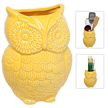 MyGift® Yellow Owl Design Ceramic Cooking Utensil Holder / Multipurpose Kitchen Storage Crock
