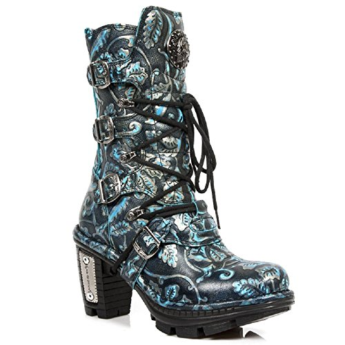 S41 NEOTR005 New Blue Rock Women's Blue Leather Boots M Neotrail x8TH6