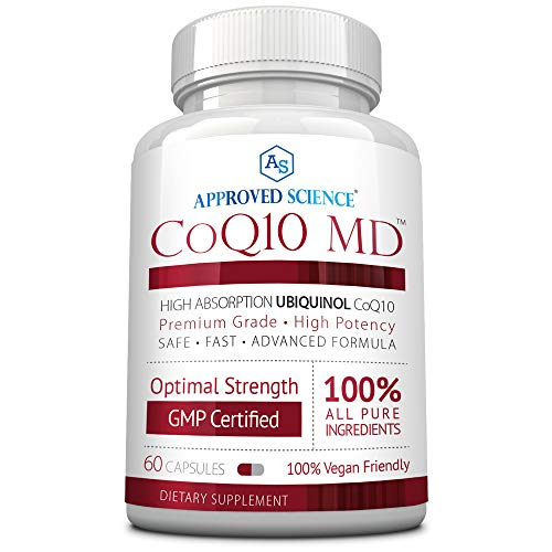 CoQ10 MD- Extra Strength 250mg Pure CoQ10 - Boost Antioxidant Levels, Improve Cardiovascular Health & Cellular Energy - Better Absorption with Bioperine - 60 Vegan Capsules