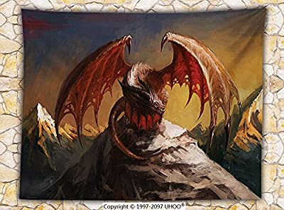 Dragon Decor Fleece Throw Blanket Malicious Dragon on Mountain Peaks Reflecting for His Next Move Oriental Legendary Beast Decor Throw Multi