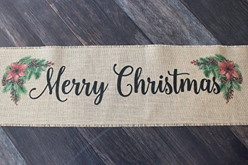 Merry Christmas burlap table runner with Pine and Poinsettias for Holiday seasonal table decor