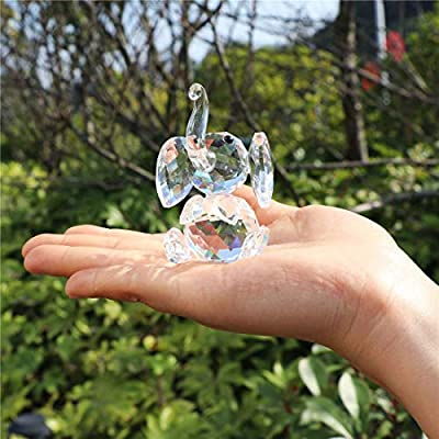 H&D Crystal Cute Elephant Figurine Collection Cut Glass Ornament Statue Animal Collectible