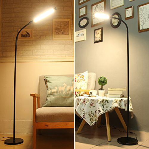 Byingo 12W Dimmable Touch Sensor Switch LED Reading Floor Lamp - Modern Simplicity Style - 4 Color Modes Stepless Dimming - Fully Adjustable Long Gooseneck, for Sofa/Desk Reading, Living Room, Bedroom by Byingo (Image #5)