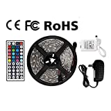 Z LED Strip Lights Waterproof Tape Lights Dimmable LED Lights Kit 16.4ft DC 12V 150 Units 5050 RGB LED TV Backlight Strip with 44 Key Remote Controller and Power Adapter for Home, Kitchen,Decoration