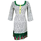 Mogul Women's Indian Tunics Dress Floral Embroidered Black Cotton Kurta S
