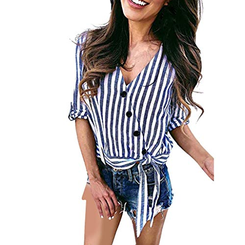 Striped Tab Sleeve Tee - Emimarol Womens Blouses Striped Button Down V-Neck Tops Roll Tab Sleeve Tie Knot Shirt Blouses Blue