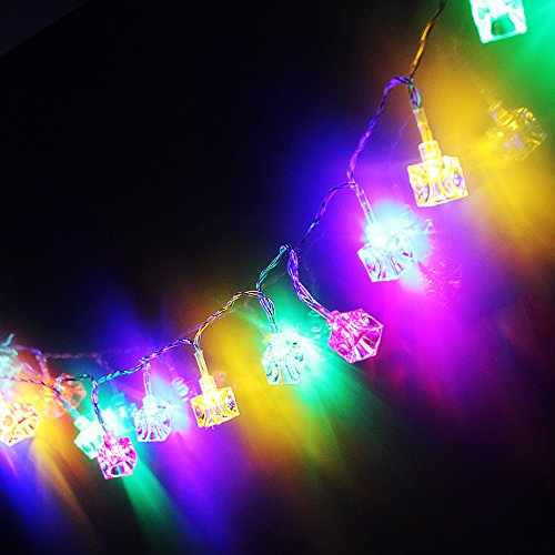 Battery Operated Ice Cube LED Christmas String Lights – Multi Color String Light, 2 Work Modes Battery Box, 7.3ft Length 20 Cubes for Christmas, Holiday, Party, Event Decorative Lighting by TORCHSTAR (Image #4)