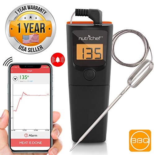 Bluetooth Meat Thermometer for Grilling - Smart Wireless Kitchen Remote Instant Read BBQ Temperature Probe for Grill, Oven, Smoker, Cooking, Smoking Food w/ Digital LCD Display - NutriChef PWIRBBQ90