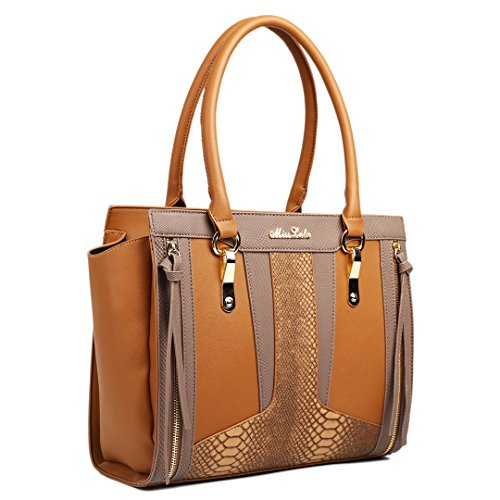 Leather Look Bag Miss Brown Brown Shoulder Brown Lulu Structured Snakeskin Contrast U7EF5qw