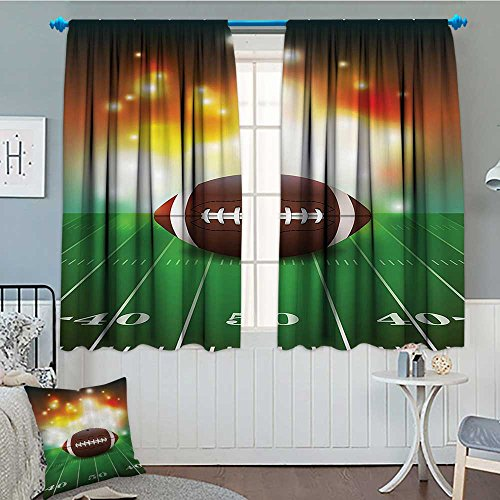 SeptSonne-Home Sports Decor Blackout Window Curtain American Football Ball with Golden Properties On Grass Turf Field Team Art Graphic Customized Curtains 52