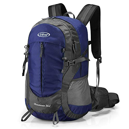 G4Free 35L Hiking Backpack Water Resistant Outdoor Sports Travel Daypack Lightweight with Rain Cover for Women Men (Dark Blue)