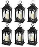Banberry Designs Black Plastic Decorative Lantern LED Pillar Candle with 5 Hour Timer Roof and Hanging Ring - 13'' H - Pack of 6
