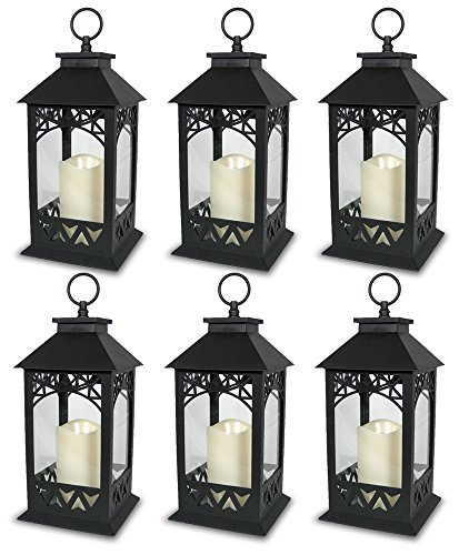 BANBERRY DESIGNS Black Plastic Decorative Lantern LED Pillar Candle with 5 Hour Timer Roof and Hanging Ring - 13