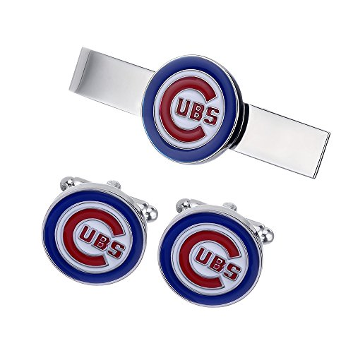 Promotioneer Men's Professional Baseball Team Logo Symbol Series Cufflinks and Tie Clip Tie Bar 02 (Clip Cubs Mlb)