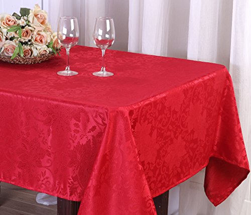 [Red Floral Jacquard Fabric Tablecloth 60x84] (Jacquard Tablecloth Fabric)