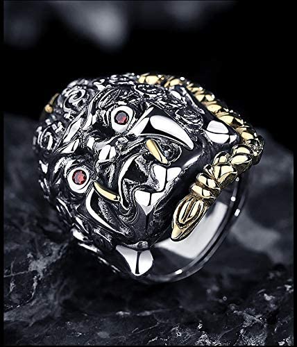 S925 Sterling Silver Men's Ring, Chinese Style Retro Personality Domineering Men and Women Couple Ring Gift Souvenir Jewelry.