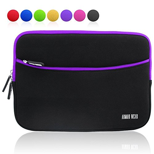 Carrying Zipper - Armor Wear Padded Neoprene Zipper Carrying Case with Accessory Pocket for  7 - 8 inch Tablet - Black/Purple