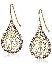 14k Gold Tri-Color Filigree Diamond-Cut Drop Earrings