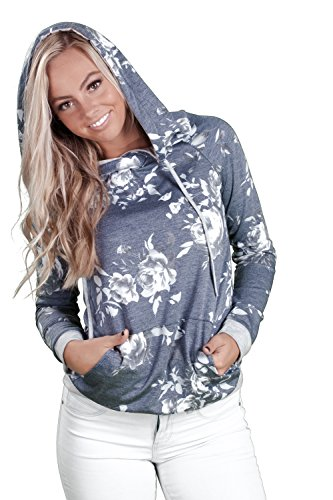 Inspire L'Amour Womens Allegra Floral Hoodie Navy - Popular In Usa