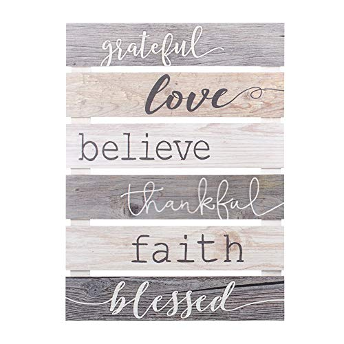 P Graham Dunn Grateful Love Believe Thankful Faith Blessed Grey 17 X 24 Inch Solid Pine Wood Skid Wall Plaque Sign