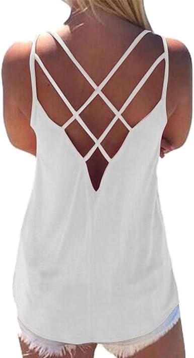 Pacrate Camiseta Sin Mangas Mujer Tops Verano Sexy Cruz Chaleco Casual Blusa de Cuello Redondo: Amazon.es: Ropa y accesorios