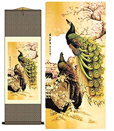 Grace Art Asian Wall Scroll The Passionate Peacock Couple