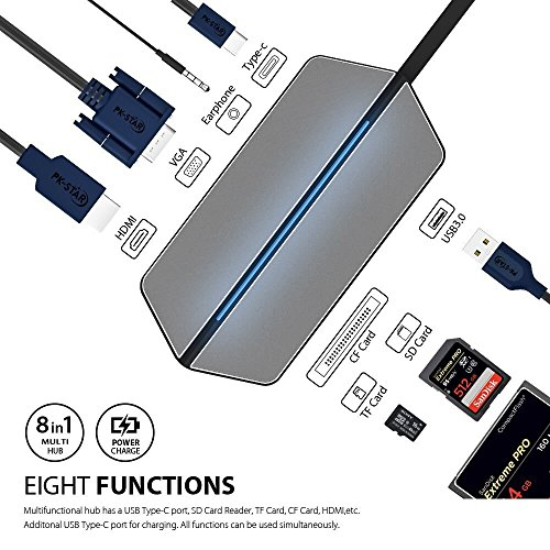 Price comparison product image USB C Hub, Type C Adapter 8-in-1 Multiport Design, USB C Travel Dock with HDMI & VGA Output, USB 3.0 & 3.5mm Audio Jack, SD/TF Card Reader, Type C Charger for MacBook Pro/Google Pixel & More USB C Dev