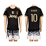 Black #10 Baggio 2nd Away Kids Youth Soccer Jersey (2015/16)