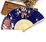 Blue 10Pcs/Lot Delicate Chinese Style Flower Floral Fabric Folding Hand Fan Cherry Blossom Folding Hand Wedding Decor