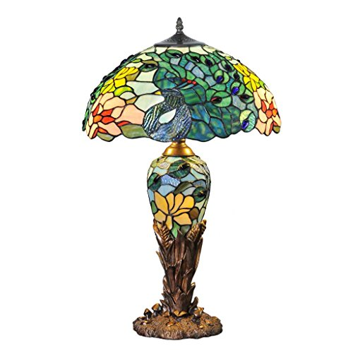 26'' H Fantastic Feodora Stained Glass Double Lit Table Lamp by River of Goods